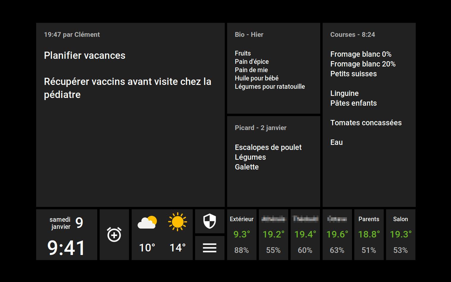Les températures et taux d'humidité sont affichées dans un encart en bas à droite